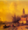 Leickert Charles Henri A River Landscape With Figures