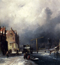 Leickert Charles Henri Joseph Figures In A Dutch Town By A Frozen Canal
