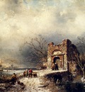 Leickert Charles Henri Joseph Villagers On A Frozen Path
