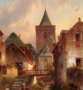 Leickert Charles View In A German Village With Washerwomen