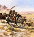 Russell Charles Marion Attack on a Wagon Train