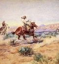 Russell Charles Marion Roping a Wolf