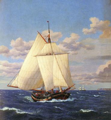 Eckersberg Christopher Wilhelm En Dansk Yacht Passerer Stevns