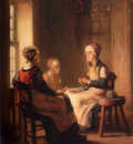 Bail Joseph A Interior With Marken Girls Knitting