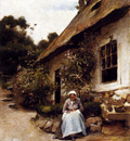 Bail Joseph Woman Sewing In Front Of Her Cottage
