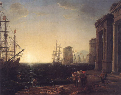 Harbour Scene at Sunset WGA