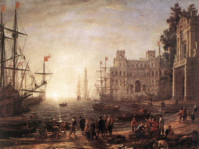 Port Scene with the Villa Medici WGA