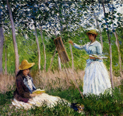 Monet In The Woods At Giverny Blanche Hoschede Monet At Her Easel With Suzzanne Hoschede Reading