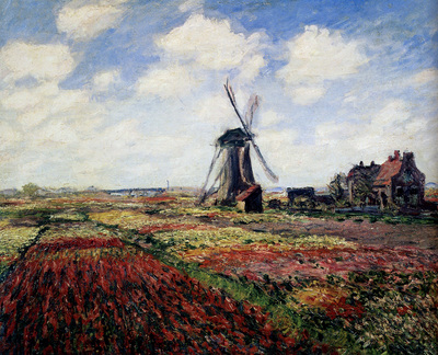 monet tulip fields with the rijnsburg windmill