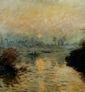Monet Sun Setting Over The Seine At Lavacourt Winter Effect