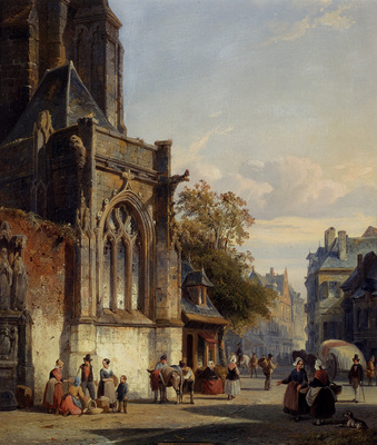 Springer Cornelis Town Square Before A Church A Capriccio
