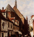 Springer Cornelis A Busy Street In Bremen With The Saint Johann Church In The Background