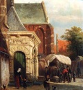 Springer Cornelis A View Of The South Entrance Of The St Pancras Church Enkhuizen
