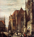 Springer Cornelis Many Figures On The Market Square In Front Of The Martinikirche Braunschweig