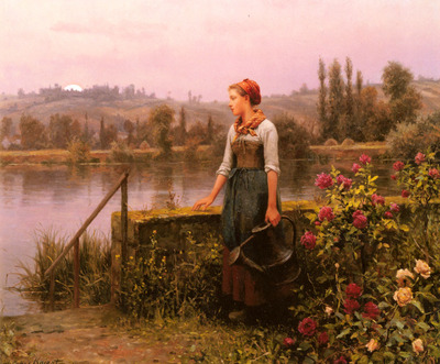 Knight Daniel Ridgeway A Woman With A Watering Can By The River