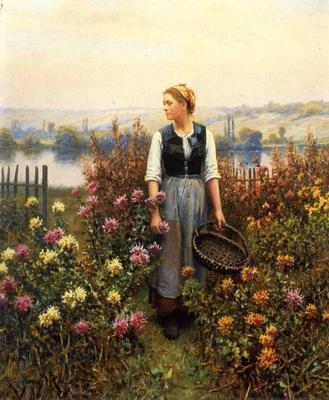 Knight Daniel Ridgway Girl with a Basket in a Garden