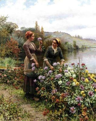Knight Daniel Ridgway Peasant Girls in Flower Garden