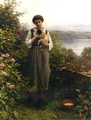 Knight Daniel Ridgway Young Girl Holding a Puppy
