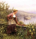 Knight Daniel Ridgway Brittany Girl Overlooking Stream