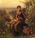 Knight Daniel Ridgway Seated Girl with Flowers
