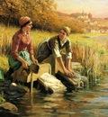 Knight Daniel Ridgway Women Washing Clothes by a Stream