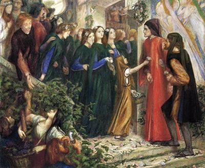 Rossetti Dante Gabriel Beatrice Meeting Dante at a Wedding Feast Denies him her Salutation
