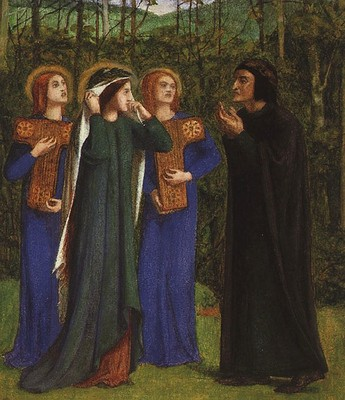 Rossetti Dante Gabriel The Meeting of Dante and Beatrice in Paradise