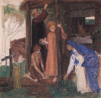 Rossetti Dante Gabriel The Passover in the Holy Family Gathering Bitter Herbs