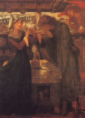 Rossetti Dante Gabriel Tristram and Isolde Drinking the Love Potion