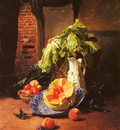 Noter David Emil Joseph De A Still Life With A White Porcelain Pitcher Fruit And Vegetables