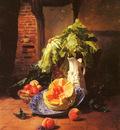 Noter David Emil Joseph De A Still Life With A White Porcelain Pitcher Fruit And Vegetables
