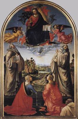 GHIRLANDAIO Domenico Christ In Heaven With Four Saints And A Donor