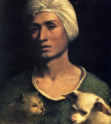 Dossi Dosso Portrait Of A Young Man With A Dog And A Cat