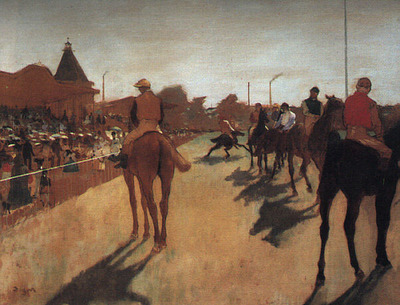 Racehorses in Front of the Grandstand CGF