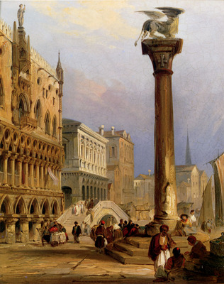 Pritchett Edward A View Of St Marks Column And The Doges Palace Venice