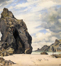 Cooke Edward William Steeple Rock Kynance Cove Lizard Cornwall Low Water
