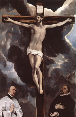 el greco christ on the cross adored by donors 1585