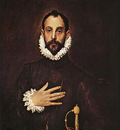 el greco the knight with his hand on his breast 1577