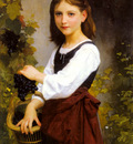 Bouguereau Elizabeth Jane Gardner A Young Girl Holding A Basket Of Grapes