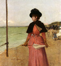 Duez Ernest Ange An Elegant Lady On The Beach