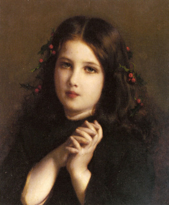 Piot Adolphe A Young Girl With Holly Berries In Her Hair
