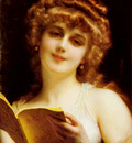 Piot Adolphe A Blonde Beauty Holding A Book