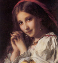 Piot Adolphe Portrait of a Girl with Red Shawl
