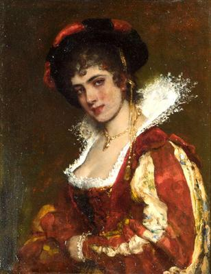 Blaas Eugen von Portrait of a Venetian Lady