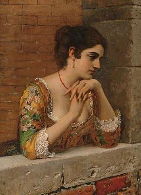 Blaas Eugen von venetian beauty on balcony