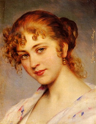 Blass Eugen Von A Portrait Of A Young Lady