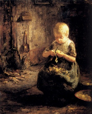 Pieters Evert A Child Peeling Potatoes