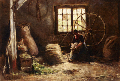 Pieters Evert A Peasant Woman Combing Wool