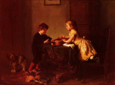 Schlesinger Felix Children Playing With A Guitar