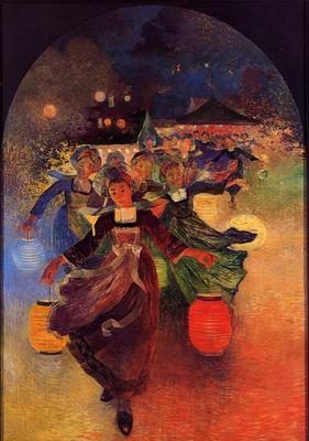 Puigaudeau Ferdinand du Breton Girls with Chinese Lanterns
